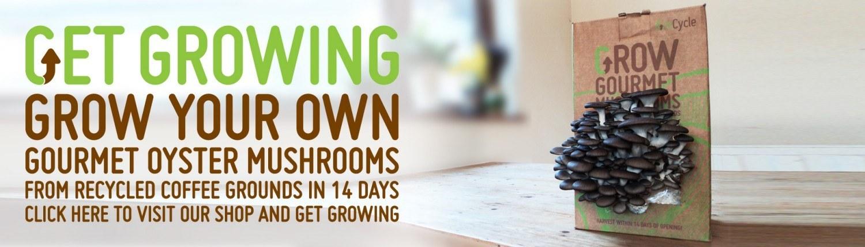 GroCycle Banner Grow Mushrooms on Coffee
